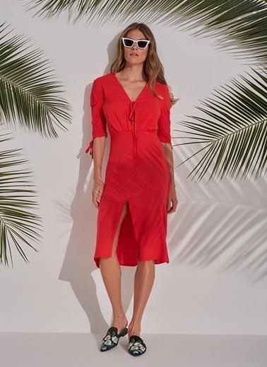 Morhipo Beach Kol Detaylı Elbise Kırmızı